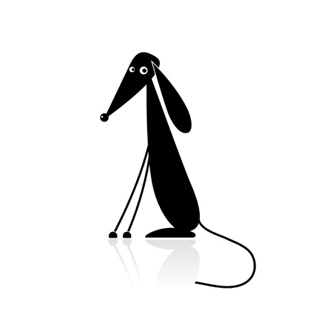Funny black dog silhouette for your design Vector