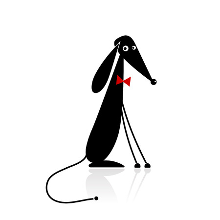 Funny black dog silhouette for your design Stock Vector - 8099024