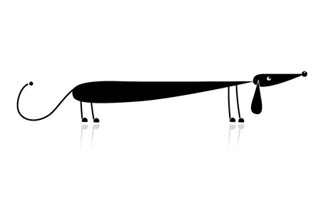 bloodhound: Funny black dachshund silhouette for your design Illustration