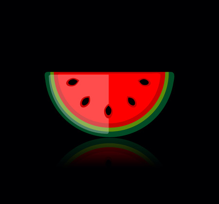 Piece of watermelon on black for your design Vector