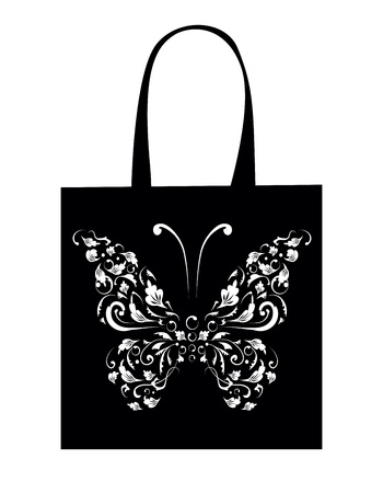 Sac à provisions design, papillon vintage