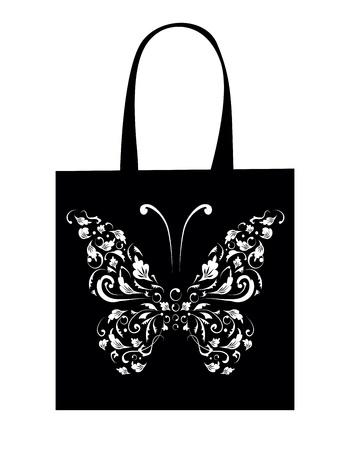 white paper bag: Shopping bag design, vintage butterfly Illustration