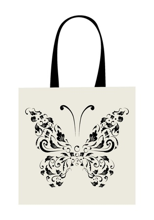 Shopping bag design, vintage butterfly Stock Vector - 8362450