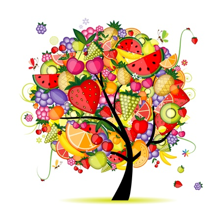 pineapple tree: �rbol frutal de energ�a para el dise�o Vectores
