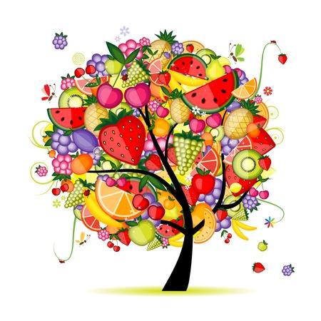 kiwi fruit: �rbol frutal de energ�a para el dise�o Vectores