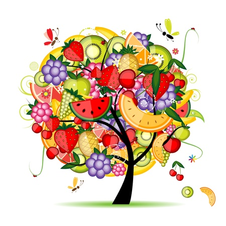 nutrition and health: Energy fruit tree for your design