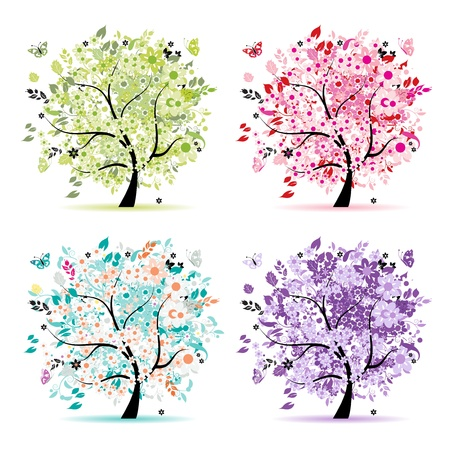 purple butterfly: Set of floral trees beautiful for your design
