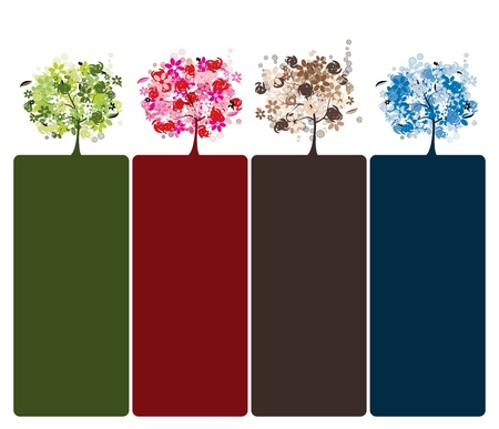 Set of floral trees beautiful for your design Vector