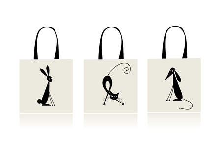 Design of shopping bag - bunny, cat and dog Vector