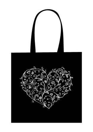 Floral heart shape, design of shopping bag Vector