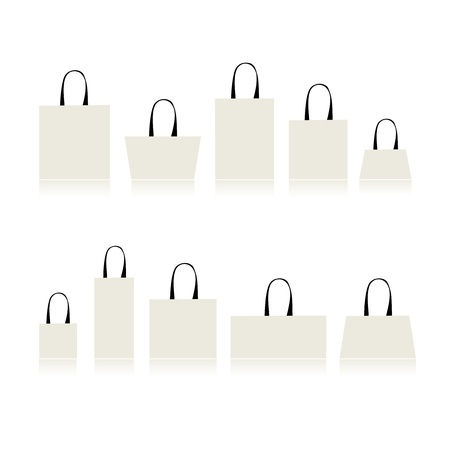 white paper bag: Shopping bags isolated for your design