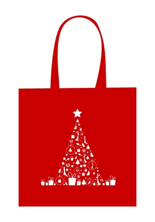 Christmas tree with decoration, design of shopping bag Vector