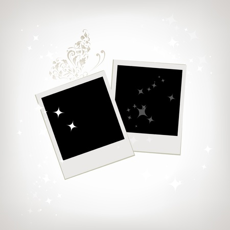 Two photo frames with butterfly decoration Stock Vector - 8362521