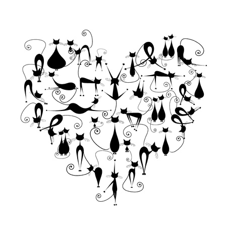 I love cats! Black cats silhouette in heart shape for your design Vector