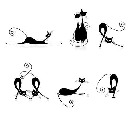 Graceful cats silhouettes black for your design Vector