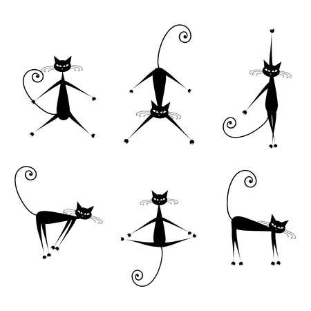 cat walk: Graceful cats silhouettes black for your design Illustration