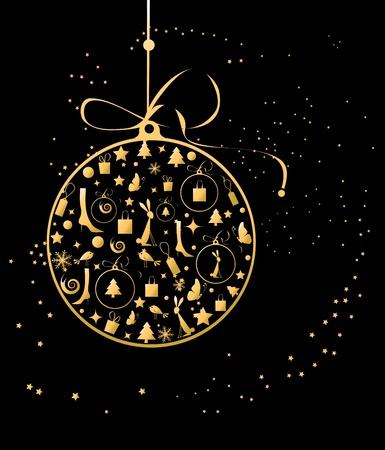 Christmas ball golden for your design Vector