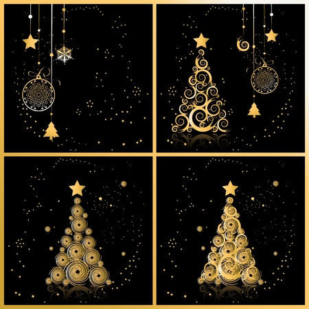 Christmas tree beautiful, cards for your design Vector
