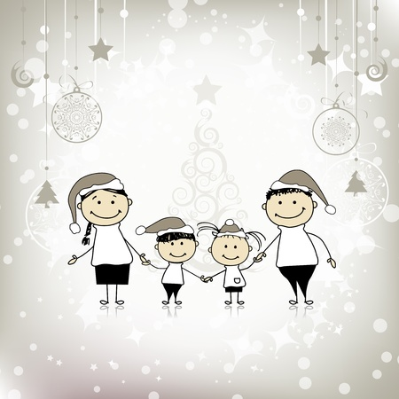 Happy family smiling together, christmas holiday Vector