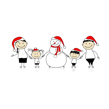 Happy family and snowman, christmas holiday Illustration