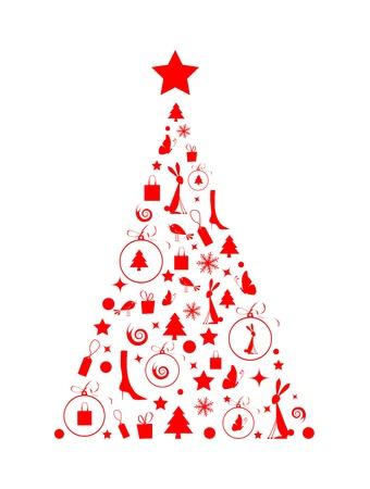 bunny xmas: Christmas tree beautiful for your design