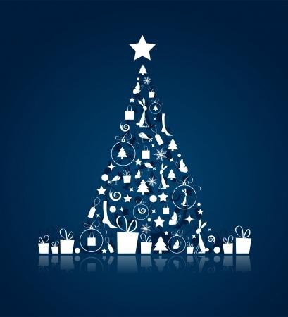 birds in tree: Albero di Natale bello per la progettazione