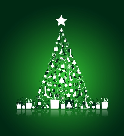 Christmas tree beautiful for your design Vector
