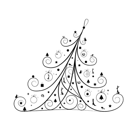 bunny xmas: Christmas tree decoration, silhouette for your design Illustration
