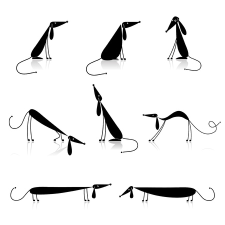 back of leg: Funny black dogs silhouette, collection for your design