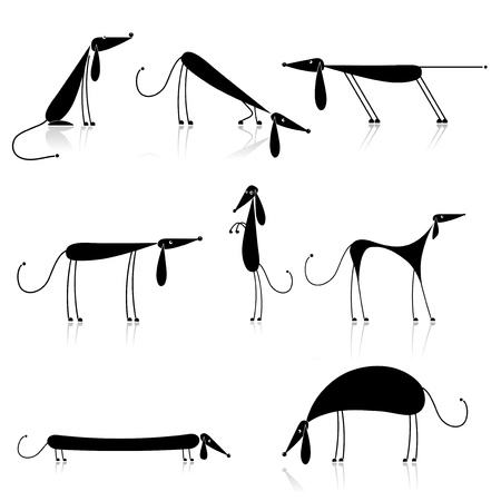 bloodhound: Funny black dogs silhouette, collection for your design