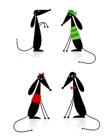 animal leg: Funny black dogs silhouette, collection for your design
