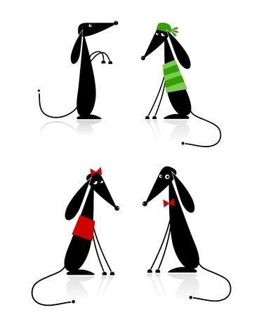 animal leg: Silueta de perros negro gracioso, colecci�n para el dise�o