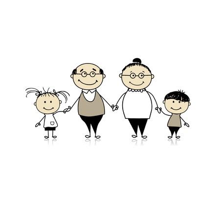 abuelos: Familia feliz junto - abuelos y nietos