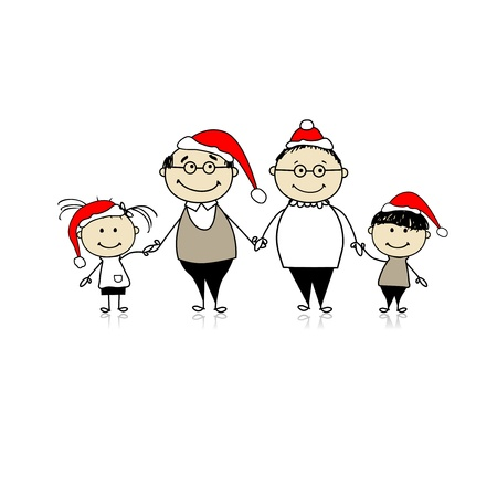 large woman: Merry christmas. Happy family together - grandparents and grandchildren Illustration