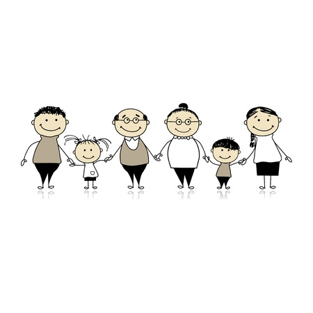 Happy family together - parents and children Stock Vector - 8362472