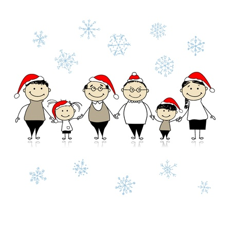 large woman: Merry christmas. Happy big family together for your design Illustration