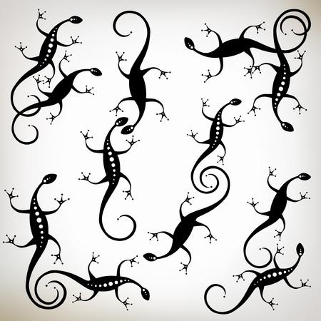 l�zard: L�zard noir silhouette, collection pour votre design. Illustration
