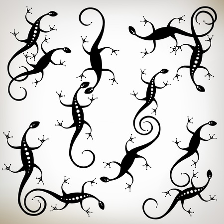 Lizard black silhouette, collection for your design Vector