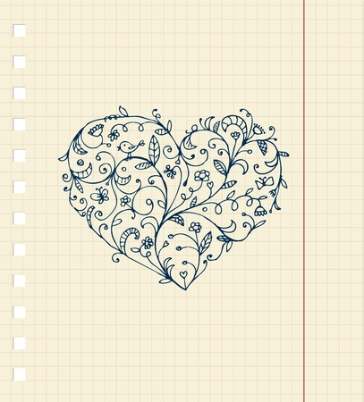 Sketch of floral heart ornament on notebook sheet Vector
