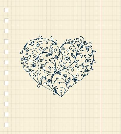 Croquis d'ornement de coeur floral sur la feuille de cahier