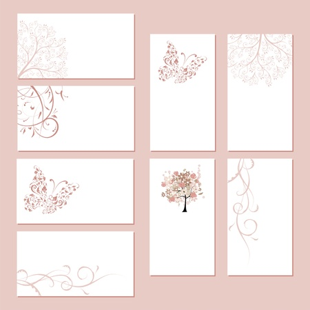Set of business cards, floral ornament for your design Vector
