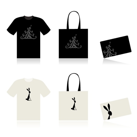 Christmas shopping - t-shirt, bag and payment card Vector