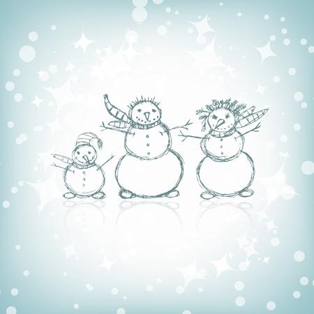 Famille de Bonhomme, esquisse de Noël pour votre conception