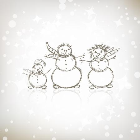 Family of snowmen, christmas sketch for your design Vector