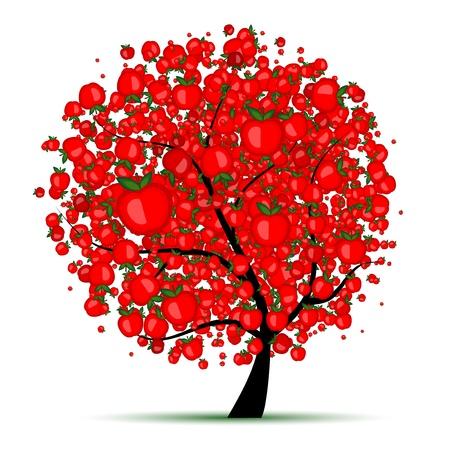 arbol de manzanas: Árbol de manzanas de energía para el diseño  Vectores
