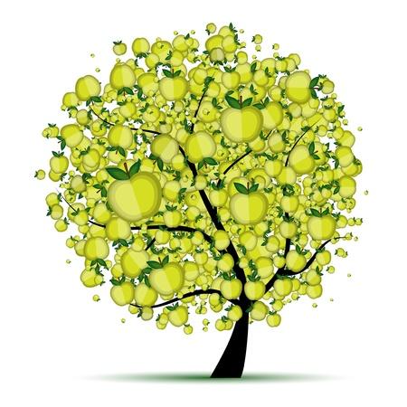 apple and orange: Energy apple tree for your design  Illustration