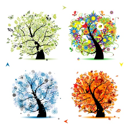 Four seasons - spring, summer, autumn, winter. Art tree beautiful for your design Stock Vector - 8592019