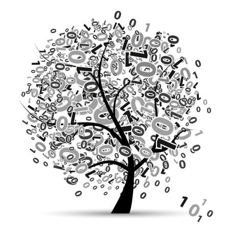 Digital tree silhouette, numbers Vector