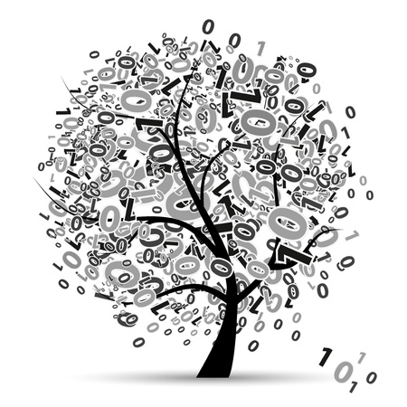 concentration: Digital tree silhouette, numbers