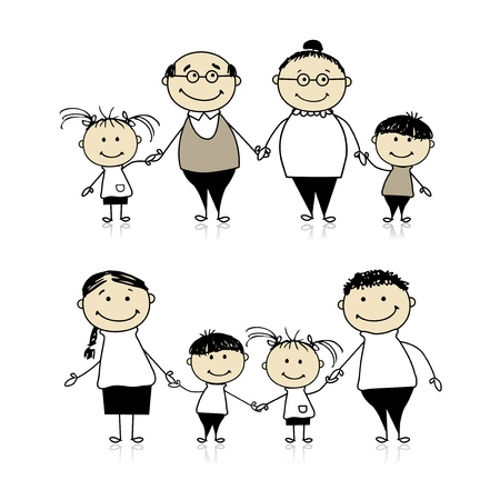 Happy family together - parents, grandparents and children  Vector